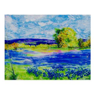 peace on earth Bluebonnet Fields Postcard
