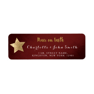 Peace on Earth Burgundy Golden Star Adress Return Address Label