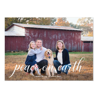 Peace on Earth Calligraphy Holiday Photo Card