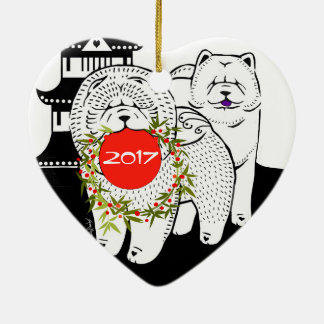 PEACE ON EARTH  - Chow heart ornament-front/back Ceramic Ornament
