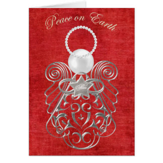 Peace on Earth - Christmas Angel of Peace - Red Greeting Cards