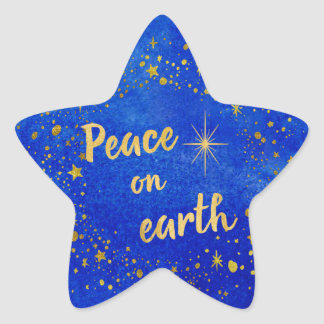 Peace on Earth Christmas Blue and Gold Star Sticker