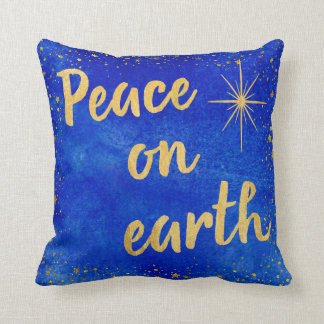 Peace on Earth Christmas Blue and Gold Throw Pillow