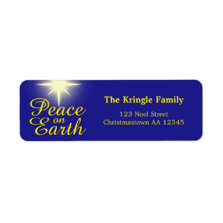 Peace on Earth Christmas Star Address Labels