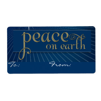 Peace on earth Christmas tag labels