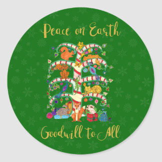 Peace on Earth Cute Animal Tree of Life Holiday Classic Round Sticker
