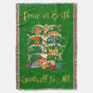 Peace on Earth Cute Animal Tree of Life Holiday Throw Blanket