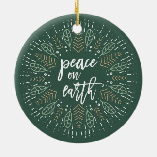 Peace on Earth Double-Sided Holiday Photo Round Ceramic Ornament