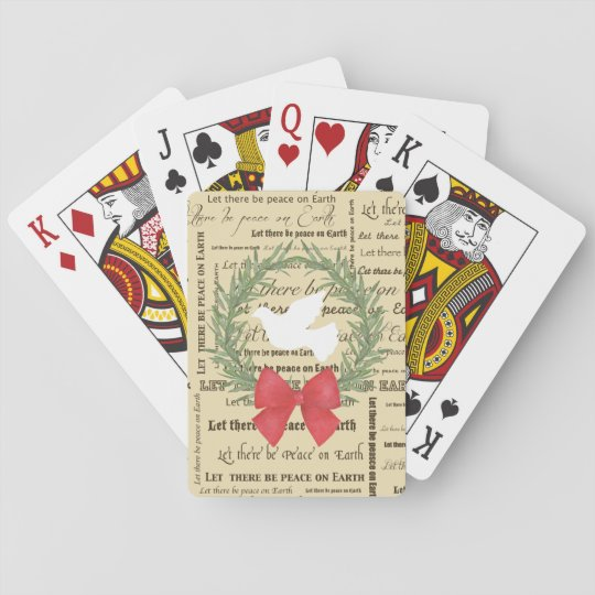 Peace on Earth Dove, Olive Leaves, Typography, Bow Poker Deck