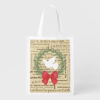 Peace on Earth Dove, Olive Leaves, Typography, Bow Reusable Grocery Bag
