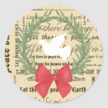 Peace on Earth Dove, Olive Leaves, Typography, Bow Round Sticker