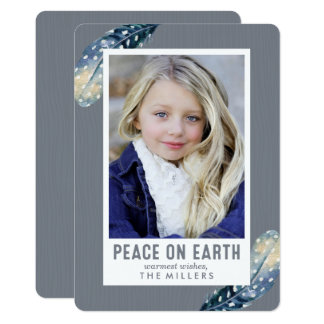 Peace On Earth Feather Holiday Photo Card
