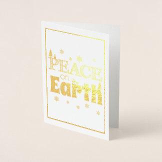 Peace on Earth gold Christmas Card