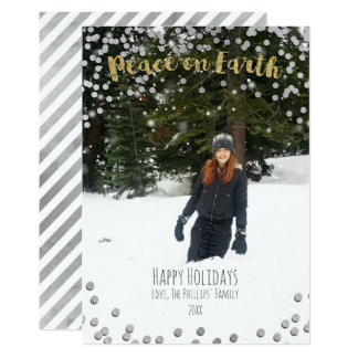 Peace on Earth Gold Silver Holiday Christmas Photo Card