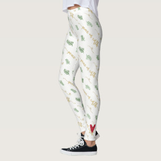 Peace on Earth Gold Watercolor Typography Pattern Leggings