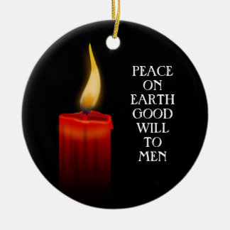 Peace On Earth Good Will Candle Flame Christmas Round Ceramic Ornament