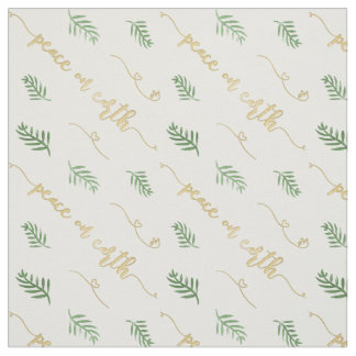 Peace on Earth Green & Gold Watercolor Pattern Fabric
