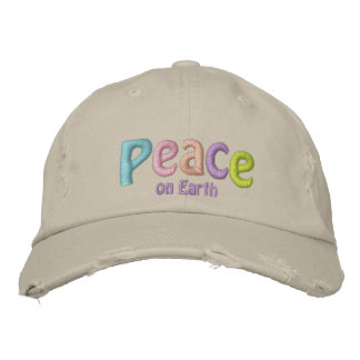 Peace On Earth, Hippie & Anti War Quote Embroidered Hat