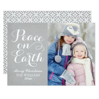 Peace on Earth | Holiday Photo Card Gray