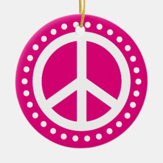 Peace on Earth Hot Pink and White Polka Dot Round Ceramic Ornament