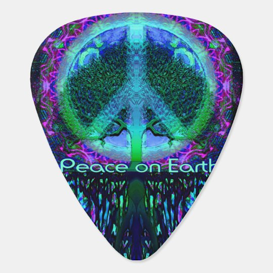 Peace on Earth in Blue and Green Guitar Pick