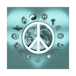 Peace on Earth in Teal Blue Stretched Canvas Print