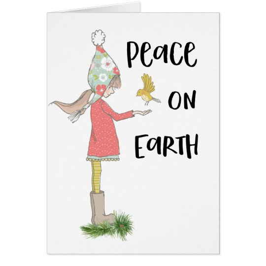 Peace On Earth Little Girl With Bird Christmas Card