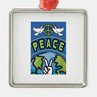 Peace on Earth Metal Ornament