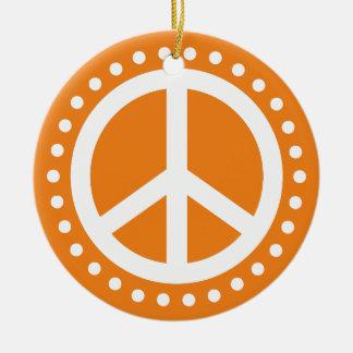 Peace on Earth Orange and White Polka Dot Round Ceramic Ornament