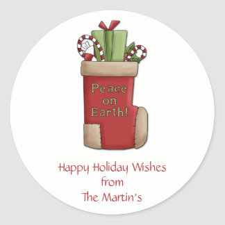 Peace on Earth Personalized Holiday Stickers