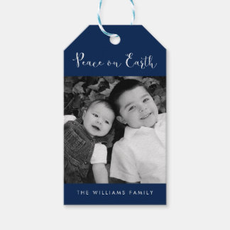 """""""Peace on Earth"""" Photo Holiday Gift Tags"""