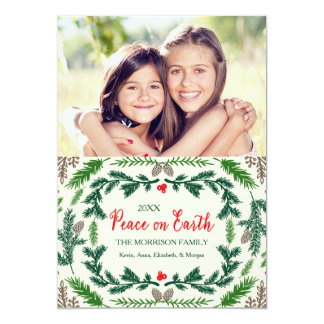 Peace On Earth Pine Branches Holiday Photo Card