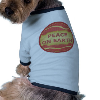 Peace on Earth Red Gold Elegant Dog T Shirt