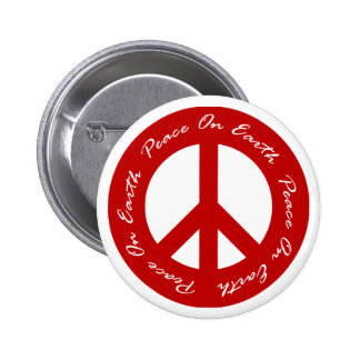 Peace On Earth Red Holiday Peace Sign 2 Inch Round Button