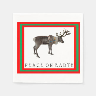 Peace on Earth reindeer cocktail napkins Paper Napkin
