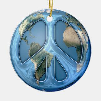 Peace On Earth Round Ceramic Ornament