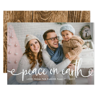 Peace on Earth | Rustic Typography for Christmas Card