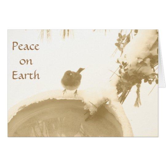 Peace on Earth, Sepia Songbird Holiday Card