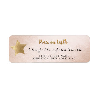 Peace on Earth Silver Champaign Golden Star Adress Return Address Label