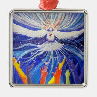 Peace on Earth Silver-Colored Square Ornament