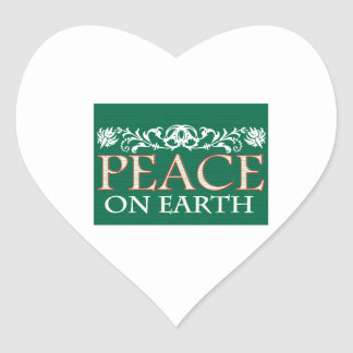 Peace On Earth Heart Stickers
