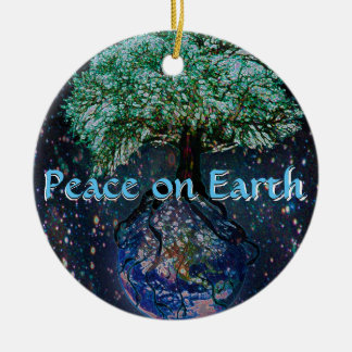 Peace on Earth Tree of Life Ceramic Ornament