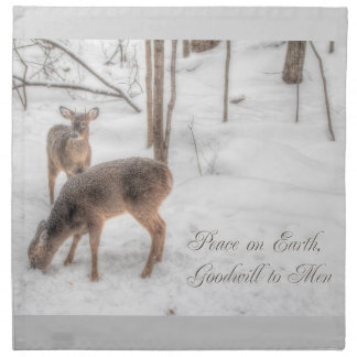 Peace on Earth - Two Deer In Snowy Woods Cloth Napkin