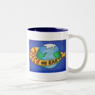 PEACE on Earth Two-Tone Coffee Mug