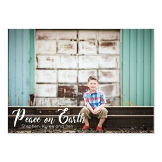 Peace on Earth Typography Photo Christmas Card