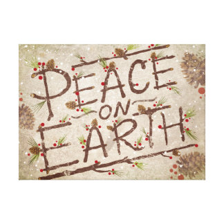 """""""Peace On Earth"""" Typography Stretched Canvas Print"""