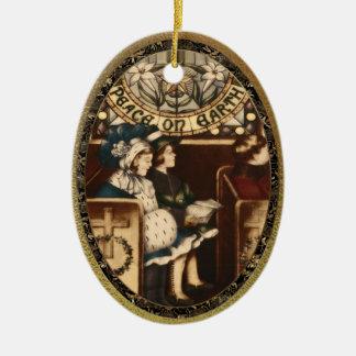 Peace on Earth Vintage Ceramic Ornament