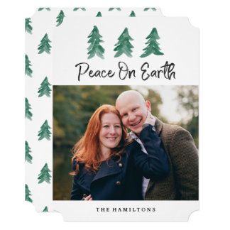 Peace On Earth Watercolor | Holiday Photo Card