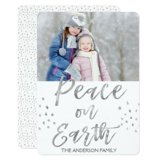 Peace on Earth White and Silver Watercolor Photo Card