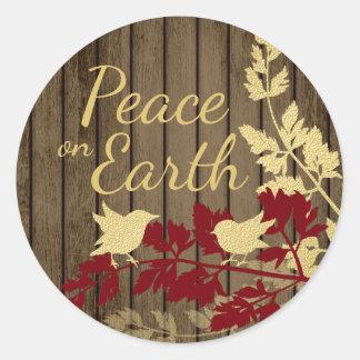 Peace on Earth Woodland Birds Classic Round Sticker